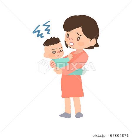 抱っこを嫌がる赤ちゃん(発達障害)とお母さんのイラスト 67304871