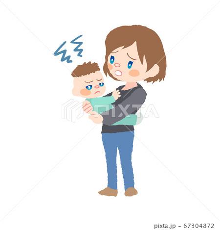 抱っこを嫌がる赤ちゃん(発達障害)とお母さんのイラスト 67304872