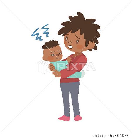 抱っこを嫌がる赤ちゃん(発達障害)とお母さんのイラスト 67304873