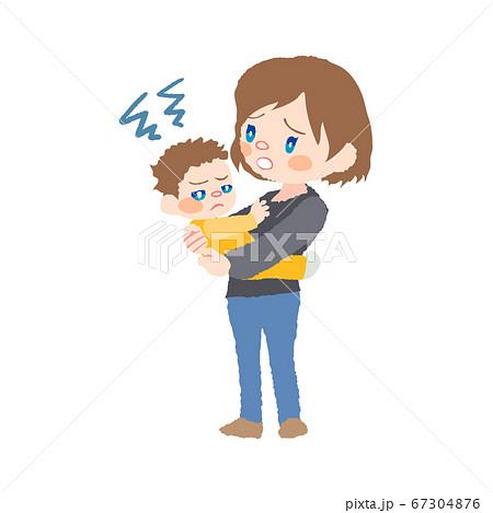 抱っこを嫌がる赤ちゃん(発達障害)とお母さんのイラスト 67304876