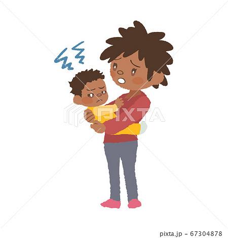 抱っこを嫌がる赤ちゃん(発達障害)とお母さんのイラスト 67304878