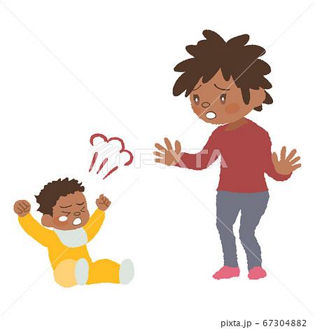癇癪を起こしている赤ちゃん(発達障害)とお母さんのイラスト 67304882