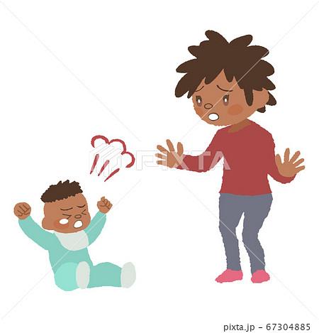 癇癪を起こしている赤ちゃん(発達障害)とお母さんのイラスト 67304885