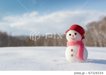 冬晴れの雪原と手作り雪だるま 67326334