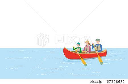 カヌーをこぐ親子 67328682