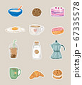 Super cute set of food - Good morning collection, food and drinks concept cute colorful badges 67335578
