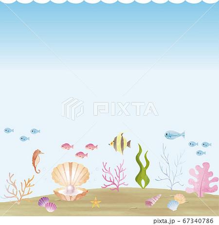 夏 海 南国 トロピカル 水彩 イラスト 背景素材 67340786