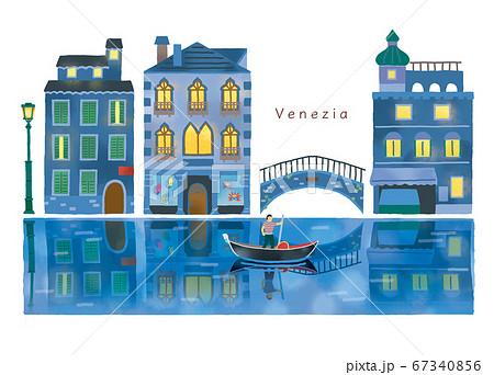 イタリアのおしゃれな街と運河のイラストセット 67340856