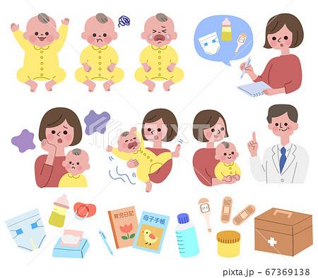 赤ちゃんをお世話するお母さんと医者セット 主線無し 67369138