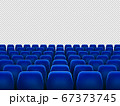 Isolated blue armchairs for cinema, theatre or opera. Realistic row with chairs for watching movie, seats 67373745