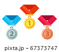 Gold, silver, bronze medals with ribbon. Reward for winner or champion in competition. Getting award 67373747