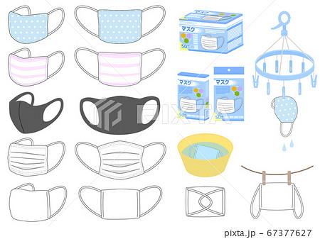 様々なマスクと洗濯のイラストセット 67377627