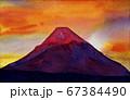 夕焼けの赤い富士山 水彩画 67384490