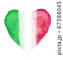ハートマークをモチーフにしたイタリアの国旗 67388045