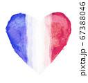 ハートマークをモチーフにしたフランスの国旗 67388046