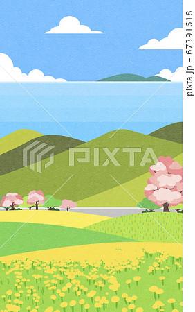Beautiful spring landscape background illustration 006 67391618