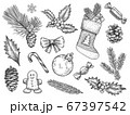 Sketch decoration xmas set. Christmas and happy new year symbols. Sock and gift, gingerbread, holly fir branches, pine cone vector elements 67397542
