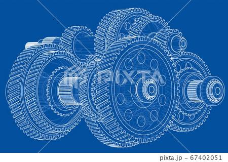 Outline gearbox concept. 3D illustration 67402051