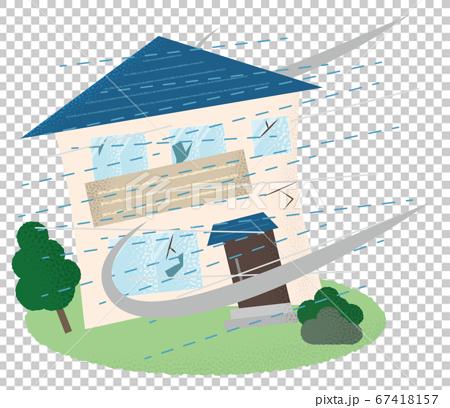 遭受颱風破壞的房屋的矢量圖 67418157