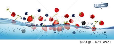 Fresh fruits and berries splashing in water waves 67418921