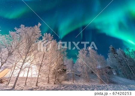 カナダ イエローナイフ 冬 オーロラ 67420253