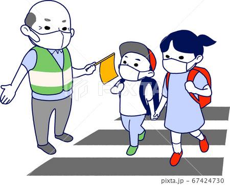 【マスク有】横断歩道で小学生の通学を見守るおじいさん - 主線あり・半袖・夏 67424730