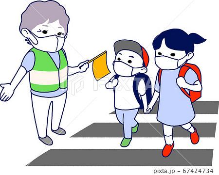 【マスク有】横断歩道で小学生の通学を見守るおばあさん - 主線あり・半袖・夏 67424734