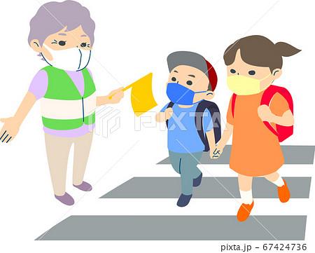 【マスク有】横断歩道で小学生の通学を見守るおばあさん - 主線なし・半袖・夏 67424736