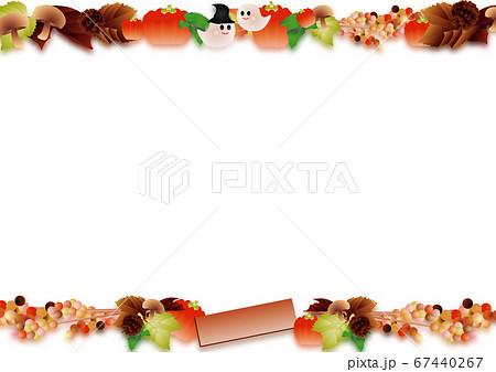 ハロウインの可愛いお化けと秋の葉やカボチャやキノコのイラスト背景素材 67440267