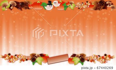 ハロウインの可愛いお化けと秋の葉やカボチャやキノコのイラストワイドバーチャル背景素材 67440269