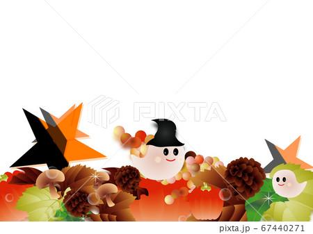ハロウインの可愛いお化けと秋の葉やカボチャやキノコに星のイラスト背景素材 67440271