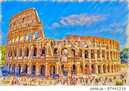 イタリア・ローマ、コロッセオの美しい風景のイラスト 67441219