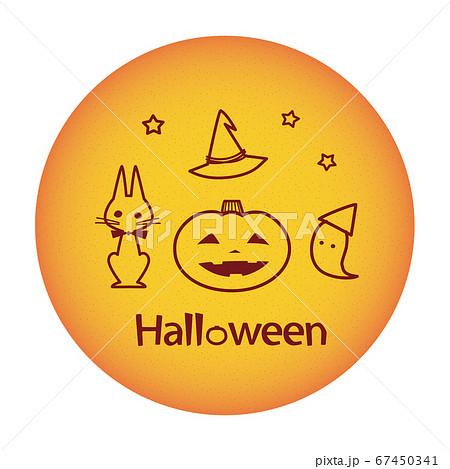 ハロウィン 円形の中の線画素材 ジャックオーランタン 黒猫 お化け 67450341