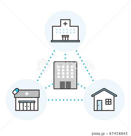 オンライン診療とデータセンター連携のイメージベクターイラスト 67458845