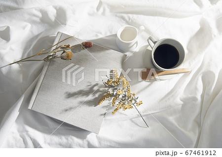 自然光と葉の影が反射した白い布とフォトアルバム 67461912