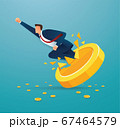 Businessman breakthrough gold coin to successful vector illustration 67464579