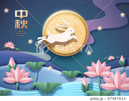 Rabbit jumping through lotus pond 67467614
