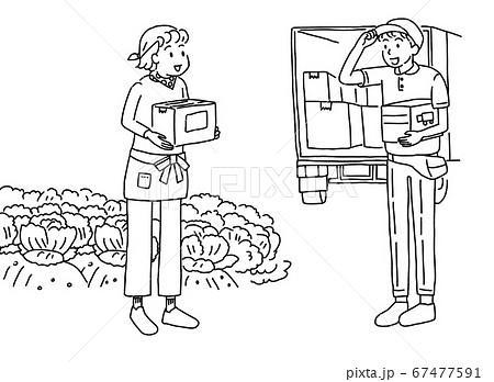 産地直送で発送する農家の女性と集配のトラック配達員 67477591