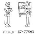 通信販売で商品を発送する女性と集配のトラック配達員 67477593