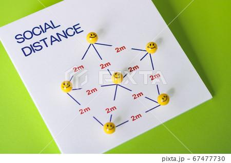 ソーシャルディスタンス社会的距離を保つ 67477730