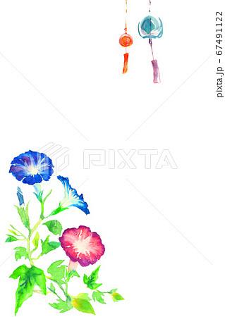 水彩で描いたアサガオと風鈴 67491122