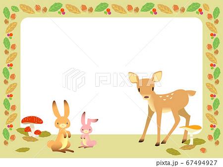 秋イメージの動物とキノコのフレーム 67494927