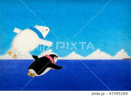極のペギンと北極のシロンは仲良し空中遊泳に出かけます 67495269