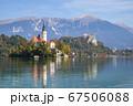 スロベニアのブレッド湖、教会の全景 67506088