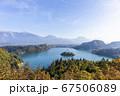 スロベニアのブレッド湖、教会の全景 67506089