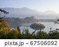 スロベニアのブレッド湖、教会の全景 67506092