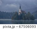 スロベニアのブレッド湖、教会の全景 67506093