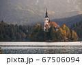 スロベニアのブレッド湖、教会の全景 67506094