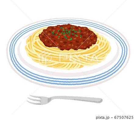 ミートソーススパゲティのイラスト/パスタ 67507625