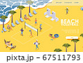 Isometric landing page beach volleyball with 67511793
